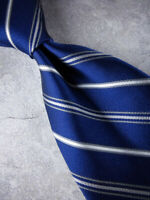 BROOKS BROTHERS Silk Tie Navy Blue White Stripe  MSRP $98.50 ~ NEW NWT USA