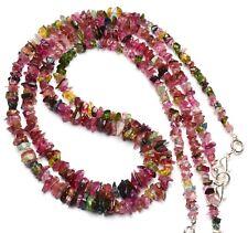 "Natural Gem Multi color Tourmaline Rough 5 to 7MM Size Uncut Beads Necklace 18"""