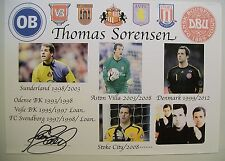 A 12 x 8 inch Printed Display personally signed by Thomas Sorensen.