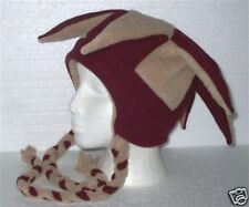NEW fleece jester snowboarding hat maroon/tan w/ties