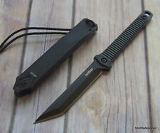 KERSHAW DUNE THICK BLADE FULL TANG NECK KNIFE W/ HARD SHEATH & LANYARD PARACORD