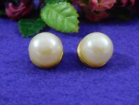 Vintage Large Faux Pearl Pierced Post Earrings Gold Tone