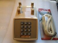 Vintage Western Electric Push Button Telephone Beige Cream Desk Phone No Handset