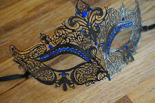 Masquerade mask.Black filigree with blue diamonte stones.UK STOCK.Freepost.