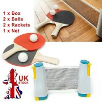 Table Tennis Kit Portable Retractable Ping Pong Set Net 2 Bats Expandable Net