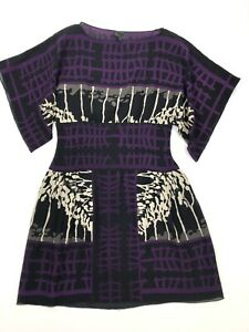 Anna Sui Silk & Wool Short Sleeve dress Size 2 Purple & Black