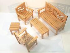 Dolls House 5 pezzi sedie da giardino tabelle Set di Mobili Panca Legno in Miniatura 12th