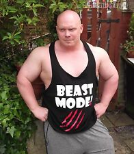 GYM GAUL - BEAST MODE VEST (BLACK) RRP £14.99 (7XL) FLASH SALE Bodybuilding Gym