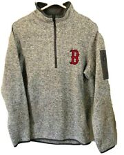 Boston Red Sox MLB Antigua Blended Gray & White Quarter Zip Pullover Size Medium