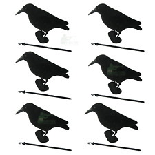 6 FLOCKED CROW DECOY FULL BODY WHOLE ROOK RAVEN SHOOTING HUNTING + FEET + STAKE