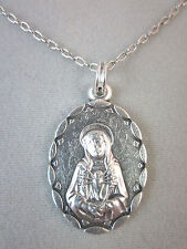 "Our Lady of Seven Sorrows Medal Italy Pendant Necklace 20"" Chain"