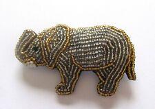 gray gold white-black eye Pin/Brooch- Elephant seed beads-