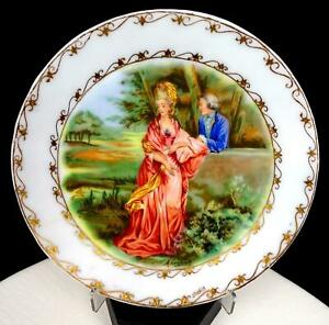 """STUBBS SIGNED MILK GLASS COURTING COUPLE AND GILT 7 5/8"""" PORTRAIT PLATE"""