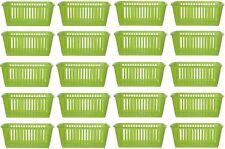 20x Whitefurze Plastic Nestable Handy Tidy Storage Basket Tray 25cm - Lime Green