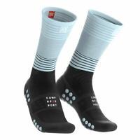Compressport Unisex Mid Compression Socks, Black/Ice Blue