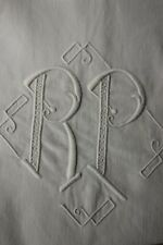 Vintage French linen sheet trousseau RP monogram 87 X 120 LONG soft cotton
