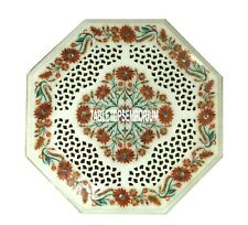 "18"" White Marble Side Table Top Filligree Inlay Carnelian Living Furniture Decor"