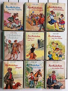 Else Ury Nesthäkchen 50/60er J. 9 Bücher Rü Leinen grün 1 ganzseit.farb Bild