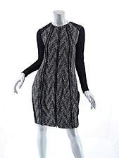DONNA KARAN Black/White Wool Blend Tweed ZIP Knee Length Dress-Mint-US6
