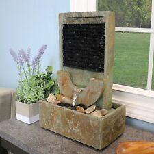 "Sunnydaze Half Moon Natural Slate Indoor Tabletop Water Fountain Feature - 16"""