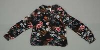 New Xhilaration Junior Floral Long Sleeve Dobby Tie Front Blouse Shirt Top Black