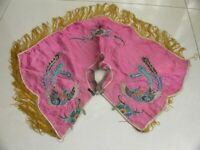 Chinese old  Hand Embroidery phenix flower silk shawl