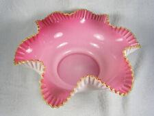 Antique Victorian Glass Wedding / Brides Basket - Cased Pink to White w/ Crest