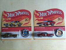 Hot Wheels 50th Anniversary Redlines Red 1967 Ford Mustang and Gold 1968 Cougar