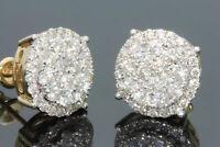 2.10 Ct Pave Set Diamond Cluster Stud Earrings 14K Yellow Gold Finish Women's