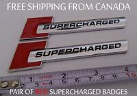 *** FREE SHIPPING *** 2x Audi Red SUPERCHARGED Chrome Badge Decal Logo Emblem