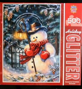 Master Pieces Holiday Glitter 500 Pc Puzzle Enchanted Christmas Snowman Free Shp