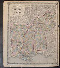 Original 1875 Map of Tennessee Kentucky Alabama Arkansas LA MS 18.5x15.5 inch