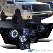 Glossy Black 09-14 Ford F150 F-150 Pickup Smoke LED Halo Projector Headlights