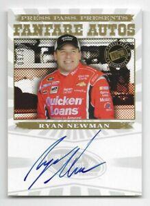 """ryan newman 2013 """"rare"""" press pass fanfare autograph card  /10 """"mint"""""""