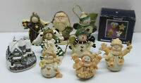 🎄 Lot of 13 Assorted Christmas Ornaments House Snowman Angel Santa Gingerbread