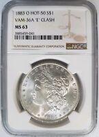 1883 O Silver Morgan Dollar NGC MS 63 Vam 36A E Clash Hot 50 List Mint Error