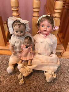 3 Cute Antique Vintage Composition Cloth Painted Sleep Eye Baby Dolls NR