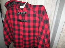 MAXWEL LINED BUFFALO Plaid Check Cape Poncho w/Hood  Red Black NWT WOMEN'S XXL