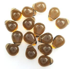 50 Smoky Topaz Czech Glass Tear Drop Beads 8MM