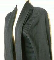 Women's St John's Bay Long Black Rib Knit Cardigan Sweater Open Front Size XL