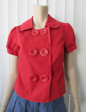 THE LIMITED Red Double Breast Button Short Sleeve Crop Blouse Sweater/Pullover