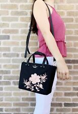 Kate Spade Dawn Place Embellished Mini Kona Tote Crossbody Black Pink Floral