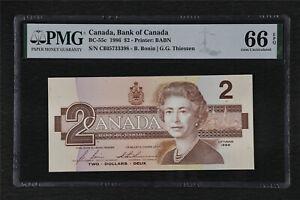 1986 Canada Bank of Canada BC-55c 2 Dollars PMG 66 EPQ Gem UNC