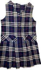 Sunshine School Uniforms 4 navy plaid sleeveless Poly-blend jumper EUC