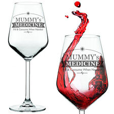 Mummy's Medicine Funny Novelty Red White Wine Glass Birthday Xmas Mum - Gift Box