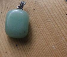 Jade green stone square cut lapidary Vintage 1970s Pendant -undamaged