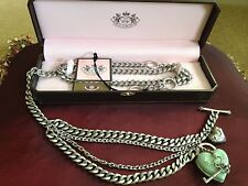 Juicy Couture Adjustable Link Chain Belt Necklace With Heart Locket