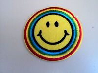 New Cute Rainbow Smiley Round Embroidered Cloth Patch Applique Badge Iron Sew On