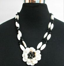 """Mother of Pearl Flower with Black Glass Beads Necklace 22"""""""