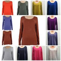 Ex M&S Women's Cotton Modal Long Sleeved T-Shirt Top